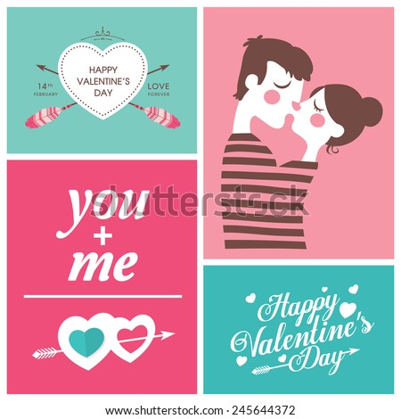 set of Happy Valentine's Day Cards - stock vector
