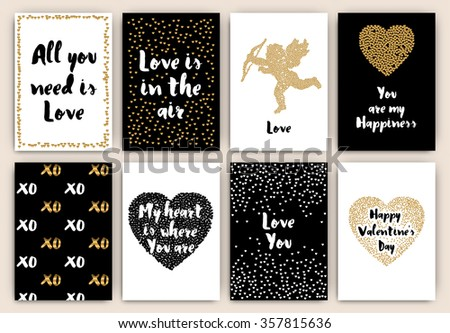 Set Of Happy Valentine's Day Designs - Typographical Background With Ornaments, dots and particle mosaic designs - gold, white, and black - stock vector