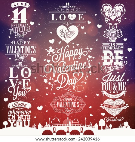 Set Of Happy Valentine's Day Hand Drawing - Typographical Background With Ornaments, Hearts, Ribbon and Arrow - stock vector