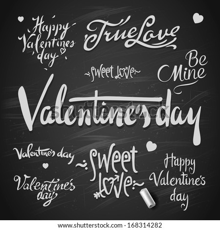 Set Of Happy Valentine's Day Hand Lettering, vector Eps10 image. - stock vector
