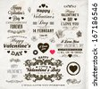 Set Of Happy Valentine's Day Labels, Ornaments, Floral Frames, Vintage Hearts and Flowers for Retro Holiday Design. Engraving Graphic Style. Vector Illustration. - stock vector