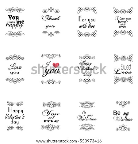 Set Of Happy Valentine's Day typography and frame elements with calligraphy romantic phrases and love words.