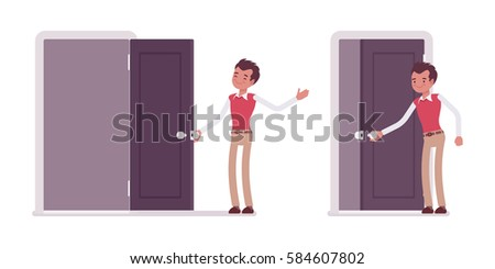 Set of happy young male typical office worker in a business smart casual wear opening and  sc 1 st  Shutterstock & Man Closing Door Stock Images Royalty-Free Images u0026 Vectors ... pezcame.com