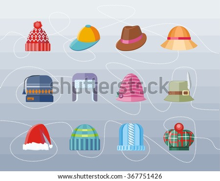 Set of hat flat design collection. Woman hat, hat isolated, fashion hat, ladies hat, hat fashion, accessory clothing hat wear hat, christmas hat, retro vintage woman hat, elegance hat illustration - stock vector