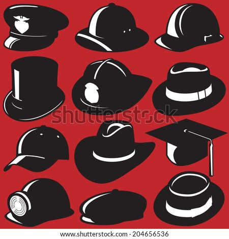 Set of Hats - stock vector