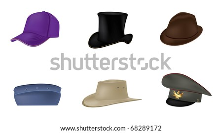 Set of hats on a isolated background,vector - stock vector