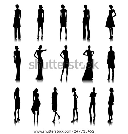 Set of haute couture female silhouettes - stock vector