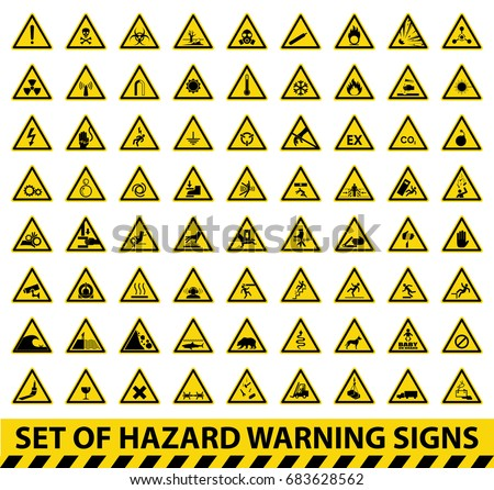 Set Hazard Warning Signs Symbol Vector Stock Vector Royalty Free