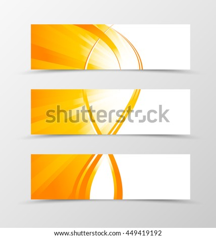 Set of header banner wave design with lines in orange color and shiny style. Vector illustration - stock vector