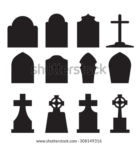 Set of headstone, headstone and tombstone silhouette in europe style. vector illustration. - stock vector