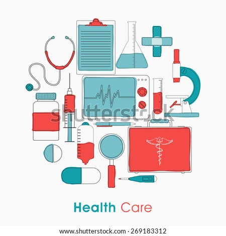 Set of Health Care elements on white background for Health and Medical concept. - stock vector