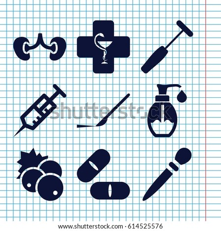 Set of 9 health filled icons such as currant, syringe, pill, scalpel, kidney, soap, pharmacy