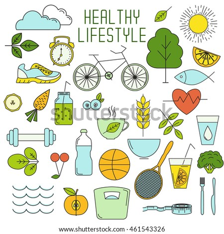 Set of healthy lifestyle thin line elements