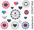 Set of heart icons. Vector - stock vector