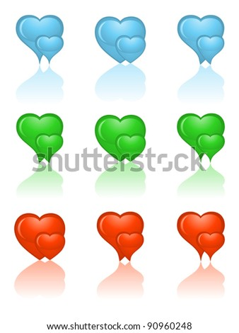 Set of heart icons. Vector illustration.