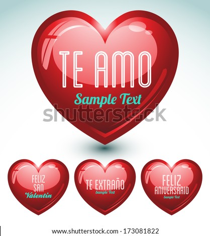 set of hearts and love messages in spanish language - ideal for celebrations, holidays, wedding and valentines day - stock vector