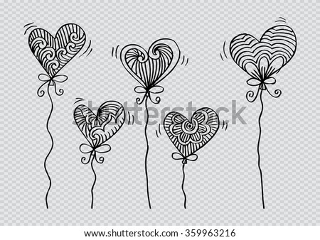 Set of hearts. Floral decoration. Hand drawing illustration.