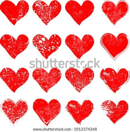 set hearts grunge stamps collectionlove shapes stock vector royalty