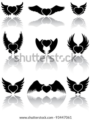 Set of Hearts icons, illustration - stock vector