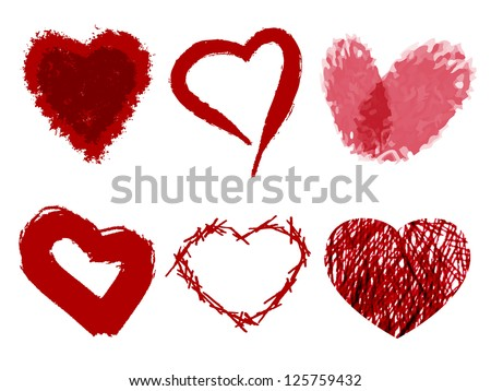 Set of hearts painted with paint. Valentine's Day. - stock vector