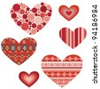 Set of hearts. Red valentine hearts in ethnic style isolated on white background. Vector illustration - stock vector