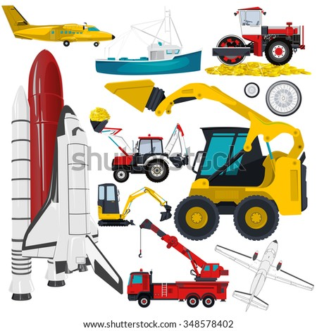 Set of heavy cars on white background. Transportation machine. Vehicle, airplane, boat, truck, digger, crane, small bagger, roller, extravator, space shuttle, flatten isolated illustration vector.