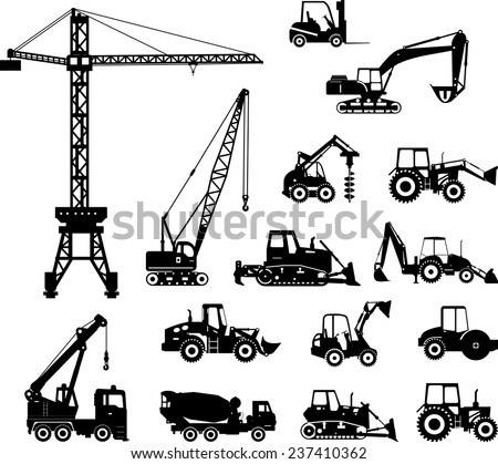 Set Of Heavy Construction Machines Icons Vector Illustration Silhouette Equipment And