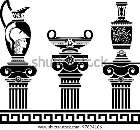 set of hellenic vases and ionic columns. stencils. vector illustration - stock vector