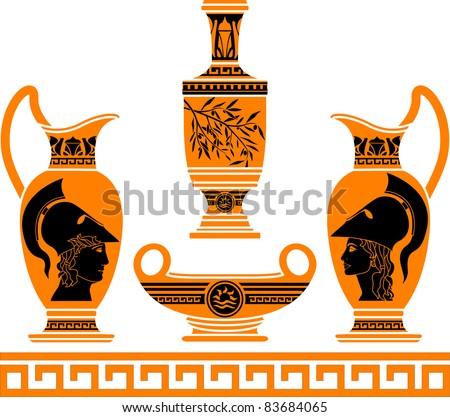 set of hellenic vases. stencils. vector illustration - stock vector