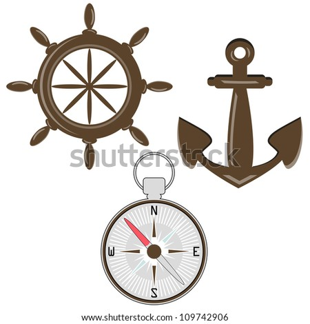 Set of helm, compass and anchor - stock vector