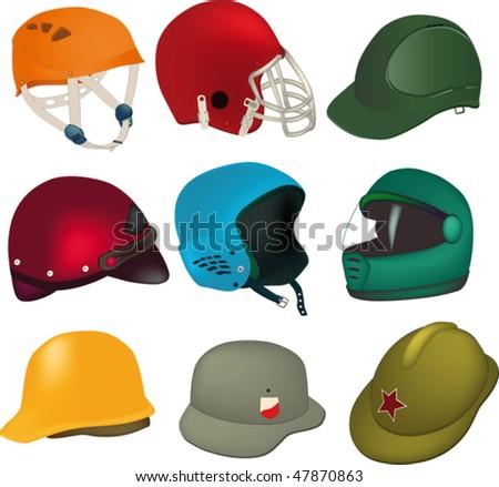 set of helmets - stock vector