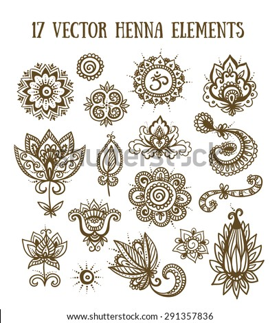 Set of henna elements based on traditional Asian elements Paisley - stock vector