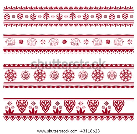 Set of henna painting inspired seamless border patterns - stock vector