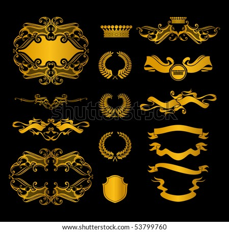 Set of heraldic elements, on black - stock vector
