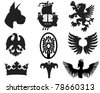 Set of heraldic elements useful for combining - stock photo