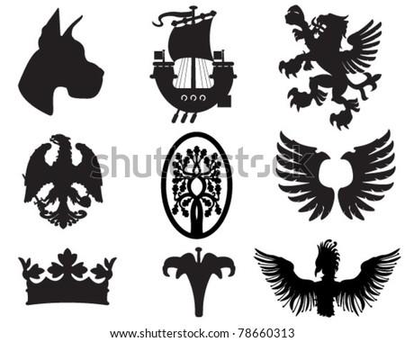 Set of heraldic elements useful for combining - stock vector
