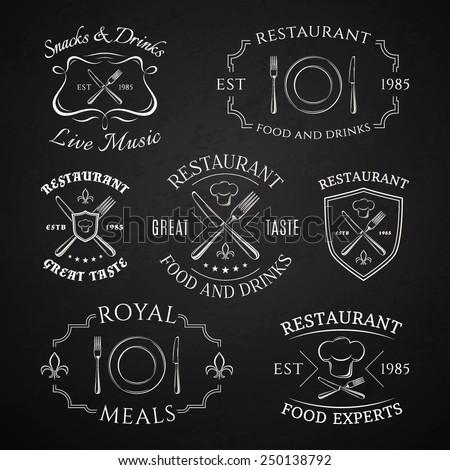 Set of heraldic restaurant logos, labels and badges. Vector illustration - stock vector