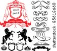 Set of heraldic silhouettes elements - icons of blazon, crown, vignette, scroll, book, column, horse, unicorn - stock vector