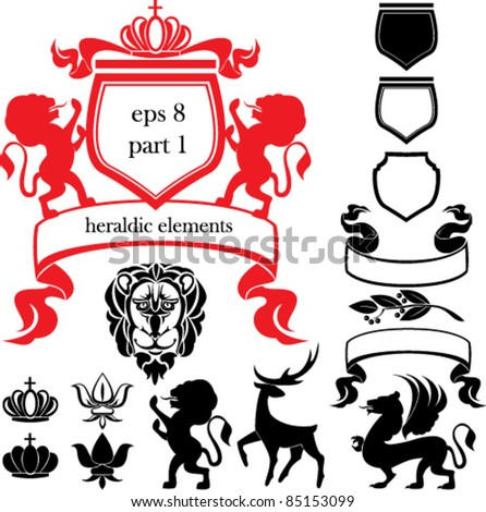 Set of heraldic silhouettes elements - lion, blazon, crown,  deer, griffin, scroll, fleur de lis - stock vector