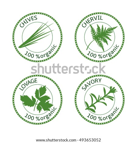 Set of herbs labels. 100 organic. Greenery collection. Savory, lovage, chives, chervil. Vector illustration. Round emblem for cosmetics, restaurant, store, health care, logo, price tag, label, web