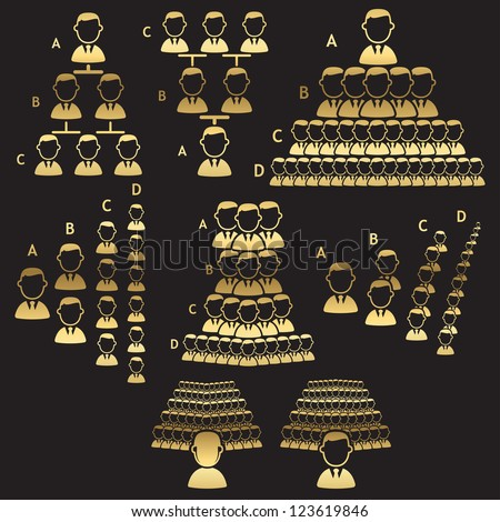Set of hierarchy icons - golden line - stock vector