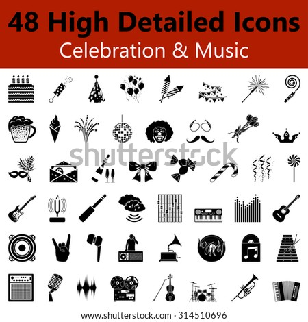 Set of High Detailed Celebration and Music Smooth Icons in Black Colors. Suitable For All Kind of Design (Web Page, Interface, Advertising, Polygraph and Other). Vector Illustration.  - stock vector