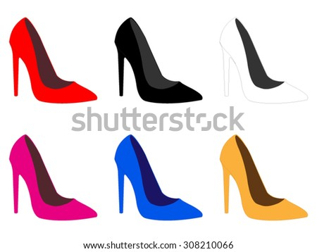 Set of High Heels Shoes in Different Colours - stock vector