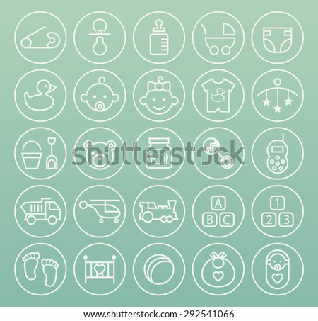 Set of High Quality Universal Standard Minimalistic Simple White Thin Line Baby Icons on Circular Buttons on Color Background. - stock vector