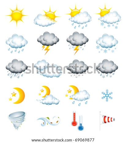 Set of 20 high quality vector weather icons - stock vector