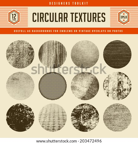 set of 12 highly detailed circular vector textures - great as backgrounds for vintage emblems or as retro overlays on photos and graphics - stock vector