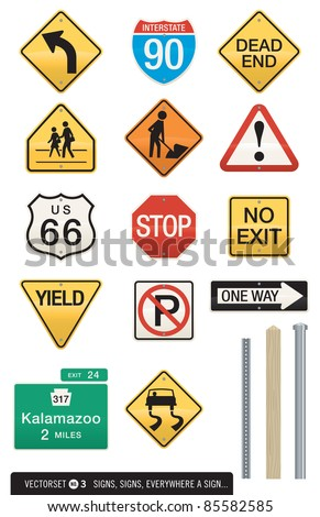 Set of 14 Highway Sign Vectors. Includes three different post designs which work with all signs. Editable colors and shapes. Use as is or drop in your own text. Great for icons or visual metaphors! - stock vector