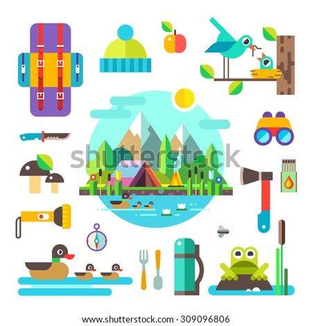 Set of hike elements and icons: backpack, binoculars, knife, compass, axe, torch, tent. Camping objects. Birds, ducks, frog, mushrooms, nest. Landscape: forest, lake, swamp and mountains. Style flat. - stock vector