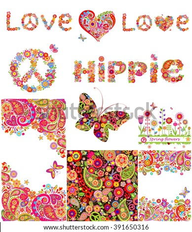 Set of hippie backgrounds