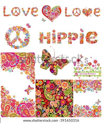 Set of hippie backgrounds - stock vector
